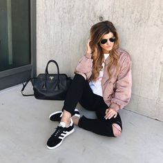 brighton the day ootd, black ripped jeans, black adidas, pink bomber jacket, white tee