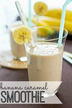 YUM! Looking for a delicious banana smoothie recipe? You will fall in love with this simple banana smoothie - with a touch of caramel!