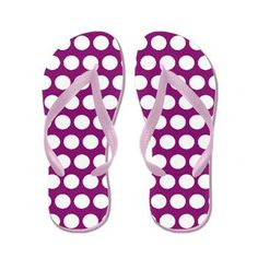 White polka dots on blue purple Flip Flops. Sizes available: From kids small to Mens Large