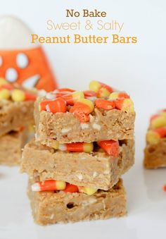 No Bake Sweet and Salty Peanut Butter Bars Recipe ~ Says: Chewy and crunchy.  You could easily leave off the candy corn, but I love the taste of candy corn and peanuts together, plus it adds nice color and a festive touch.