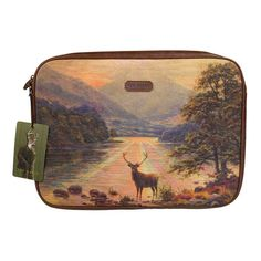 Ted Baker Stag Laptop Sleeve, Landscape Protect your hardware in style, padded canvas and faux leather case, fits most 13 Wild Wolf, Laptop Covers, Oh Deer, Laptop Bag, Leather Case, Tech Accessories, Michael Kors Jet Set, Laptop Sleeves, Ted Baker