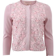 Giambattista Valli Embroidered Floral Cardigan ($2,500) ❤ liked on Polyvore featuring tops, cardigans, outerwear, sweaters, coats, floral print tops, embellished cardigan, pink sequin top, floral print cardigan and pink tops