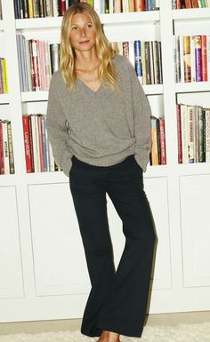 Gwyneth Paltrow has launched brand-new fall clothes for Goop—shop them all here. Gwyneth Paltrow, Mode Outfits, Fall Outfits, Casual Outfits, Pantalon Large, Mode Inspiration, Dress Me Up, Wide Leg Pants, Black Trousers