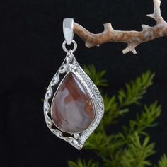 "HOT SELLING 925 STERLING SILVER CRAZY LACE AGATE PENDANT 6.77g DJP8703 L-1.75"" #Handmade #Pendant"