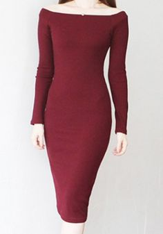 Stylish Slash Neck Long Sleeves Solid Color Dress For Women