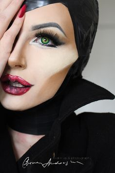 Maleficent Kostüm selber machen - Make Up Ideas Maleficent Makeup, Disney Makeup, Malificent Costume Diy, Disney Character Makeup, Maleficent Cosplay, Disney Costume Makeup, Character Costumes, Looks Halloween, Halloween Face Makeup