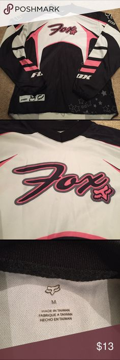 Fox pink black and white riding jersey Fox riding jersey in very good condition white pink and black. Fox Tops