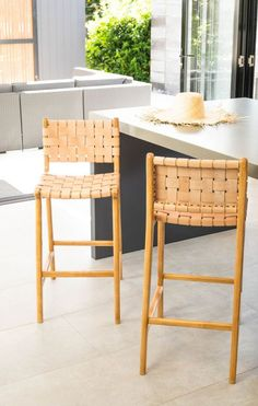 LOFT Woven Leather Stool with Back Rest- Nude - LOFT Furniture