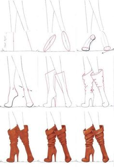 A step by step tutorial on how to draw boots.-A step by step tutorial on how to draw boots. A step by step tutorial on how to draw boots. Fashion Illustration Tutorial, Fashion Illustration Sketches, Illustration Mode, Fashion Sketches, Fashion Drawing Tutorial, Medical Illustration, Fashion Design Sketchbook, Fashion Design Drawings, Art Sketchbook