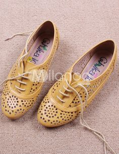Modern England Brown Soft PU Hallow Out Womens Oxford Shoes