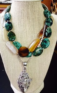 African turquoise , bone, silver cross:)!!
