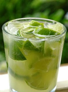 MY FAVOURITE DRINK EVER: Capirinha, the official drink of Brazil! Made with Cachaca Rum. Coat the bottom of your glass with sugar, Crush 4-5 slices of lime and add Cachaca