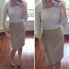 Work outfit: Neutrals - sweater,  polka dot shirt, camel pencil skirt, Camel heels, pearl necklace // StylishPetite.com