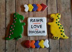 Dinosaur Love #sugarblissbakerytx #customcookies #cookies #dinosaur