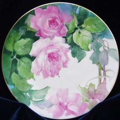 Roses painted on porcelain tile by porcelain artist and teacher, Gerry Burchill of New York's Adirondack region