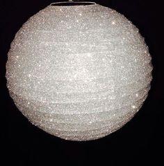 white glitter paper lanterns