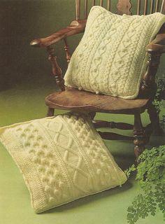 aran cushion covers vintage knitting pattern PDF by Ellisadine, £1.15