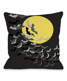 Take a look at the Black & Yellow Flock of Bats Throw Pillow on #zulily today!