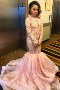 Tulle Keyhole High-Neck Mermaid Sexy Long-Sleeve Pink Prom Dress