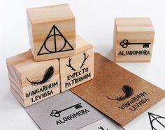 Stamp set inspired on Harry Potter. #deathlyhallows #alohomora #expectopatronum #wingardiumleviosa