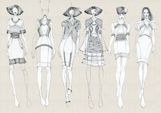 Task fashion line up with relative flat drawings on photoshop
