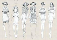 Fashion Portfolio - fashion illustrations; collection line up drawings; fashion sketchbook // Vita Gottlieb