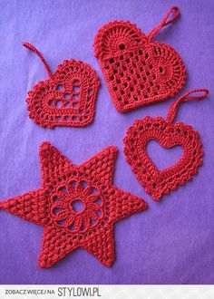 Lacy Crochet Hearts and Star of David (6-pointed star)