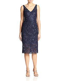 ML Monique Lhuillier Ruffle-Back Lace Dress