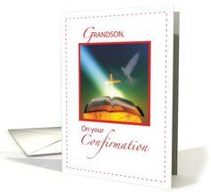 GRANDSON, Confirmation Dove, Bible, Cross card