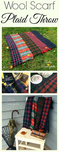 Moth holes in your favorite wool scarf got you down? Gather up your beloved scarves (or nab some from the thrift store) and repurpose them into a trendy piece of home decor- a wool plaid throw blanket! Super easy DIY upcycle project that looks gorgeous and is wonderfully functional on those chilly days and nights. #SadieSeasongoods / www.sadieseasongoods.com