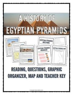 Ancient Egypt - Egypt's Pyramids - Reading, Organizer, Map, Questions, Key - This 11 page Ancient Egypt resource bundle details the history of pyramid building in Ancient Egypt. It is an excellent resource for teaching students about the different types of pyramids in Ancient Egypt and evolution of pyramid building in the history of Ancient Egypt.