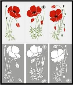 Top - stencil in color.  Bottom - layout of the Large Poppies Theme Pack - shows the main flower motifs and stamen details for stencilling on top of flower motifs.