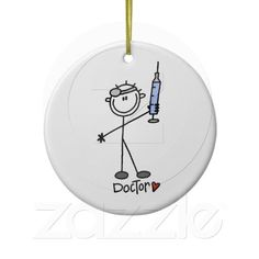 Basic Stick Figure Doctor Christmas Tree Ornament