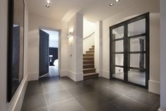 Hal met deuren van Bod'or - Model London - Design by Piet Boon - Residential Interior Trim, Modern Interior, Home Interior Design, Interior Architecture, Interior And Exterior, Entryway Stairs, House Entrance, Entrance Hall, Internal Doors