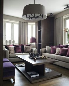 Get living room color ideas and spring decorating ideas with these pictures of decor for living rooms inspiration gallery to find living room ideas paint Living Room Decor On A Budget, Living Room Decor Apartment, Purple Living Room, Apartment Living Room, Lilac Living Rooms, Plum Living Rooms, Beige Living Rooms, Apartment Decor, Living Room Grey