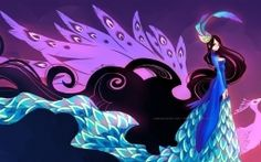 Download Blue peacock princess High quality wallpaper