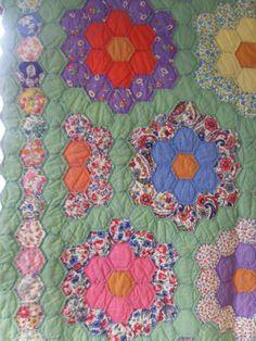 Hexagon Quilt Grandmothers Garden Paper Pieced Hand by rubisco