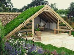 Gazebo com telhado verde