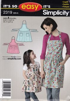 Simplicity 2319 Vintage Pattern Mommy and Me Matching Aprons