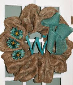 Spring - Summer Monogrammed Burlap Wreath with Blue Gerber Daisies and Blue Burlap Bow on Etsy, $65.00