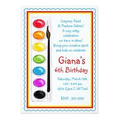 Art Birthday Party Art Paint Craft Birthday Party Invitations