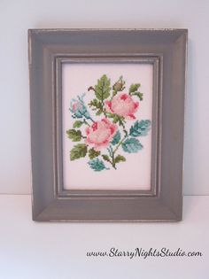 Victorian Roses Cross Stitch Framed Decor by MyStarryNightsStudio, $22.50