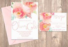 Watercolor Peony Wedding Invitation, Blush Pink - PRINTABLE - Digital Files