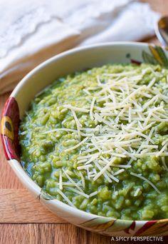 Vibrant Silky Green Risotto Recipe on ASpicyPerspective.com
