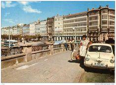 GALERIAS DE LA MARINA DESDE EL PARROTE Spain, Street View, City, Fiat 500, Scrap, Couples, Antiques, 1970s, Vintage Postcards