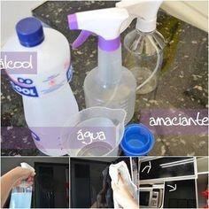 Você vai precisar de um recipiente de spray vazio; Coloca-se uma parte de água no recipiente de spray: E uma medida igual de álcool e mais 1 colher de chá cheia de amaciante concentrado.Depois de misturar, já está prontinho para usar!