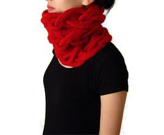 Triple Cable Cowl in Dark Red Hand Knitted Braid by naryaboutique, $40.00