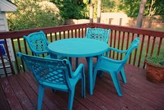 How to spray paint old plastic deck patio furniture #valspar #blue