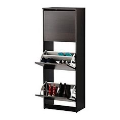 BISSA Shoe cabinet with 3 compartments - black/brown - IKEA.  19.25 x 58.  Could wallpaper front.