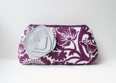 Clutch Purse And Flower Brooch - Purple Floral and Gray - Bridesmaid Gift Clutch. $38.00, via Etsy.